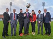 16 January 2018; In attendance, from left, Derek O'Neill, FAI Project Co-Ordinator, Chris Brian, Bohemian FC Chairman, Ger Coughlan, More Than A Club representative, Fran Gavin, FAI Director of Competitions, More Than A Club representatives Carina Brien and Shane Fox and Thomas Hynes, President of Bohemian Foundation, at the More Than A Club, Bohemian FC launch at Dalymount Park in Dublin.  Photo by David Fitzgerald/Sportsfile