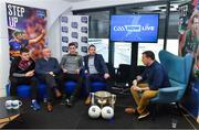 16 January 2018; Presenter Damian Lawlor interviews guests, from left, Damien Comer of Galway, Kerry selector Mikey Sheehy, Patrick mcBrearty of Donegal and Kildare manager Cian O'Neill during a GAA Now Live Facebook show at Croke Park in Dublin. Photo by Brendan Moran/Sportsfile