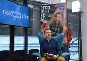 16 January 2018; Presenter Damian Lawlor speaking during a GAA Now Live Facebook show at Croke Park in Dublin. Photo by Brendan Moran/Sportsfile