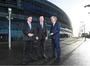 17 January 2018; Aviva Ireland today announced the extension of its naming rights of the Aviva Stadium until 2025. The company, which has been a proud partner to the IRFU and FAI since 2010, also sponsors and supports two successful grassroots programmes – the FAI's Soccer Sisters programme and the IRFU's Mini Rugby Festivals, which aid the development of soccer and rugby, respectively, for over 7500 children, every year. At today's announcement at the Aviva Stadium were, from left, Philip Browne, CEO, IRFU, Martin Murphy, Stadium Director, and John Delaney, CEO, FAI. Photo by Stephen McCarthy/Sportsfile