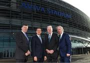 17 January 2018; Aviva Ireland today announced the extension of its naming rights of the Aviva Stadium until 2025. The company, which has been a proud partner to the IRFU and FAI since 2010, also sponsors and supports two successful grassroots programmes – the FAI's Soccer Sisters programme and the IRFU's Mini Rugby Festivals, which aid the development of soccer and rugby, respectively, for over 7500 children, every year. At today's announcement at the Aviva Stadium were, from left, Mark Wilson, CEO, Aviva, Philip Browne, CEO, IRFU, Martin Murphy, Stadium Director, and John Delaney, CEO, FAI. Photo by Stephen McCarthy/Sportsfile