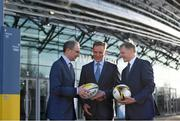 17 January 2018; Aviva Ireland today announced the extension of its naming rights of the Aviva Stadium until 2025. The company, which has been a proud partner to the IRFU and FAI since 2010, also sponsors and supports two successful grassroots programmes – the FAI's Soccer Sisters programme and the IRFU's Mini Rugby Festivals, which aid the development of soccer and rugby, respectively, for over 7500 children, every year. At today's announcement at the Aviva Stadium were Republic of Ireland manager Martin O'Neill, Mark Wilson, CEO, Aviva, and Ireland head coach Joe Schmidt. Photo by Stephen McCarthy/Sportsfile
