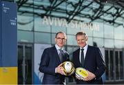 17 January 2018; Aviva Ireland today announced the extension of its naming rights of the Aviva Stadium until 2025. The company, which has been a proud partner to the IRFU and FAI since 2010, also sponsors and supports two successful grassroots programmes – the FAI's Soccer Sisters programme and the IRFU's Mini Rugby Festivals, which aid the development of soccer and rugby, respectively, for over 7500 children, every year. At today's announcement at the Aviva Stadium were Republic of Ireland manager Martin O'Neill and Ireland head coach Joe Schmidt. Photo by Stephen McCarthy/Sportsfile
