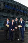 17 January 2018; Aviva Ireland today announced the extension of its naming rights of the Aviva Stadium until 2025. The company, which has been a proud partner to the IRFU and FAI since 2010, also sponsors and supports two successful grassroots programmes – the FAI's Soccer Sisters programme and the IRFU's Mini Rugby Festivals, which aid the development of soccer and rugby, respectively, for over 7500 children, every year. At today's announcement at the Aviva Stadium were, from left, Philip Browne, CEO, IRFU, John Quinlan, CEO, Aviva Ireland, Martin Murphy, Stadium Director, and John Delaney, CEO, FAI. Photo by Stephen McCarthy/Sportsfile