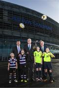 17 January 2018; Aviva Ireland today announced the extension of its naming rights of the Aviva Stadium until 2025. The company, which has been a proud partner to the IRFU and FAI since 2010, also sponsors and supports two successful grassroots programmes – the FAI's Soccer Sisters programme and the IRFU's Mini Rugby Festivals, which aid the development of soccer and rugby, respectively, for over 7500 children, every year. At today's announcement at the Aviva Stadium were Philip Browne, CEO, IRFU, left, Martin Murphy, Stadium Director and John Delaney, CEO, FAI, right, with Terenure RFC mini rugby players Lucas Devlin, age 8, and Bella Devlin, age 9, and Aviva Soccer Sisters participants, and members of Home Farm FC, Danielle Joyce and Abbey Larkin, right, both aged 12. Photo by Stephen McCarthy/Sportsfile