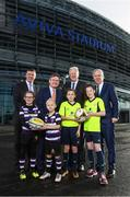 17 January 2018; Aviva Ireland today announced the extension of its naming rights of the Aviva Stadium until 2025. The company, which has been a proud partner to the IRFU and FAI since 2010, also sponsors and supports two successful grassroots programmes – the FAI's Soccer Sisters programme and the IRFU's Mini Rugby Festivals, which aid the development of soccer and rugby, respectively, for over 7500 children, every year. At today's announcement at the Aviva Stadium were, from left, Philip Browne, CEO, IRFU, John Quinlan, CEO, Aviva Ireland, Martin Murphy, Stadium Director, and John Delaney, CEO, FAI, with Terenure RFC mini rugby players Lucas Devlin, age 8, and Bella Devlin, age 9, and Aviva Soccer Sisters participants, and members of Home Farm FC, Abbey Larkin, left, and Danielle Joyce, both aged 12. Photo by Stephen McCarthy/Sportsfile