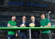 17 January 2018; Aviva Ireland today announced the extension of its naming rights of the Aviva Stadium until 2025. The company, which has been a proud partner to the IRFU and FAI since 2010, also sponsors and supports two successful grassroots programmes – the FAI's Soccer Sisters programme and the IRFU's Mini Rugby Festivals, which aid the development of soccer and rugby, respectively, for over 7500 children, every year. At today's announcement at the Aviva Stadium were, from left, Republic of Ireland international Sean Maguire, Republic of Ireland manager Martin O'Neill, Ireland head coach Joe Schmidt and Ireland rugby centre Garry Ringrose. Photo by Stephen McCarthy/Sportsfile
