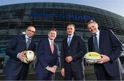 17 January 2018; Aviva Ireland today announced the extension of its naming rights of the Aviva Stadium until 2025. The company, which has been a proud partner to the IRFU and FAI since 2010, also sponsors and supports two successful grassroots programmes – the FAI's Soccer Sisters programme and the IRFU's Mini Rugby Festivals, which aid the development of soccer and rugby, respectively, for over 7500 children, every year. At today's announcement at the Aviva Stadium were, from left, Republic of Ireland manager Martin O'Neill, John Quinlan, CEO, Aviva Ireland, Mark Wilson, CEO, Aviva, and Ireland head coach Joe Schmidt. Photo by Stephen McCarthy/Sportsfile