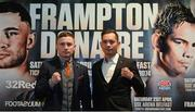 17 January 2018; Carl Frampton, left, and Nonito Donaire during a press conference at the Europa Hotel in Belfast. Photo by Oliver McVeigh/Sportsfile