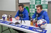 17 January 2018; Newly announced Limerick FC manager Tommy Barrett with new signing Connor Ellis during a press conference at the University of Limerick in Limerick. Photo by Diarmuid Greene/Sportsfile
