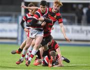 17 January 2018; James McElroy of Wesley College in action against Theodore Brady of Kilkenny College during the Bank of Ireland Leinster Schools Vinnie Murray Cup Round 2 match between Wesley College and Kilkenny College at Donnybrook Stadium, in Dublin. Photo by Matt Browne/Sportsfile