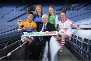 18 January 2018;  In attendance during the launch of GAA Player Conference at Croke Park in Dublin, is Uachtarán Chumann Lúthchleas Gael Aogán Ó Fearghail, with, from left, Wexford & Faythe Harriers hurler Lee Chin, Dublin & St.Judes Camogie player Leah Butler, Cahir & Tipperary footballer, Aisling Moloney and Former Mayo footballer & current Ballintubber player Alan Dillon. The first ever GAA Player Conference Launch takes place in Croke Park on Saturday February 17th, 2018 and is open to all GAA players. Bookings can be made via http://learning.gaa.ie/player Photo by Sam Barnes/Sportsfile