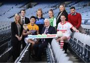18 January 2018;  In attendance during the launch of GAA Player Conference at Croke Park in Dublin, is Uachtarán Chumann Lúthchleas Gael Aogán Ó Fearghail, with, from left, GAA Health and Wellbeing Co-ordinator Stacey Cahill, GAA Player Welfare Officer Gearóid Devitt, Wexford & Faythe Harriers hurler Lee Chin, Dublin & St.Judes Camogie player Leah Butler, Cahir & Tipperary footballer, Aisling Moloney, LGFA National Development Officer Lynn Savage, former Mayo footballer & current Ballintubber player Alan Dillon, and Camogie Player Welfare Officer Paul O'Donovan. The first ever GAA Player Conference Launch takes place in Croke Park on Saturday February 17th, 2018 and is open to all GAA players. Bookings can be made via http://learning.gaa.ie/player Photo by Sam Barnes/Sportsfile