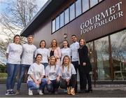 18 January 2018; In attendance at today's announcement that Gourmet Food Parlour will sponsor the Ladies Gaelic Football Association's Higher Education championships for a three-year period are, back row, from left, Muireann Atkinson of Monaghan, Jonny Cooper of Dublin, Laura McGinley of Dublin, Gourmet Food Parlour Managing Director Lorraine Heskin, Lauren Magee of Dublin, James McCarthy of Dublin, LGFA Chief Executive Helen O'Rourke and front row, from left, Eimear Scally of Cork, Megan Glynn of Galway and Martha Byrne of Dublin. The high-profile Gourmet Food Parlour O'Connor Cup weekend will be held at IT Blanchardstown and the National Sports Campus, Abbottstown, from March 9-11. Photo by David Fitzgerald/Sportsfile