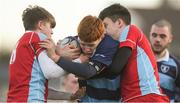 18 January 2018; David Murphy of Newpark Comprehensive in action against James Horgan, left and Michael Barrett, right of CUS during the Bank of Ireland Leinster Schools Vinnie Murray Cup Round 2 match between Newpark Comprehensive and CUS at Donnybrook Stadium, in Dublin. Photo by Eóin Noonan/Sportsfile