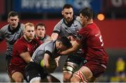 19 January 2018; Matthew Aubrey of Ospreys Premiership Select is tackled by Gerbrandt Grobler of Munster during the British & Irish Cup Round 6 match between Munster A and Ospreys Premiership Select at Irish Independent Park in Cork. Photo by Diarmuid Greene/Sportsfile