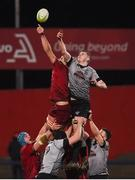 19 January 2018; Gerbrandt Grobler of Munster wins an Ospreys lineout ahead of Kieran Martin of Ospreys Premiership Select during the British & Irish Cup Round 6 match between Munster A and Ospreys Premiership Select at Irish Independent Park in Cork. Photo by Diarmuid Greene/Sportsfile