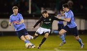 19 January 2018; Cory Galvin of Bray Wanderers in action against Liam Scaley, left, and Conor Crowley of UCD during the Preseason Friendly match between Bray Wanderers and UCD at the Carlisle Grounds in Wicklow. Photo by Piaras Ó Mídheach/Sportsfile