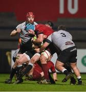 19 January 2018; Fineen Wycherley of Munster is tackled by Callum Carson and Rhys Henry of Ospreys Premiership Select during the British & Irish Cup Round 6 match between Munster A and Ospreys Premiership Select at Irish Independent Park in Cork. Photo by Diarmuid Greene/Sportsfile