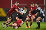 19 January 2018; Jay Barker of Ospreys Premiership Select is tackled by Conor Oliver, Shane Daly, and Gavin Coombes of Munster during the British & Irish Cup Round 6 match between Munster A and Ospreys Premiership Select at Irish Independent Park in Cork. Photo by Diarmuid Greene/Sportsfile