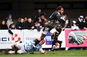 20 January 2018; Benjamin Fall of Montpellier is tackled by Josh van der Flier of Leinster during the European Rugby Champions Cup Pool 3 Round 6 match between Montpellier and Leinster at the Altrad Stadium in Montpellier, France. Photo by Ramsey Cardy/Sportsfile