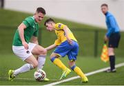20 January 2018; Sean McLoughlin of Cork City in action against Dylan McCrory of Finn Harps during the pre-season friendly match between Cork City and Finn Harps at the FAI National Training Centre in Abbotstown, Dublin. Photo by Stephen McCarthy/Sportsfile