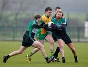 21 January 2018; Ronan Steede of Corofin in action against Owen Mulligan and Connor Murphy of Fulham Irish, left, during the AIB GAA Football All-Ireland Senior Club Championship Quarter-Final Refixture match between Fulham Irish and Corofin at McGovern Park in Ruislip, England. Photo by Matt Impey/Sportsfile