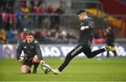 21 January 2018; Conor Murray of Munster practices his place kicking with team mate Ian Keatley prior to the European Rugby Champions Cup Pool 4 Round 6 match between Munster and Castres at Thomond Park in Limerick. Photo by Diarmuid Greene/Sportsfile