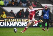 21 January 2018; John Cooney of Ulster kicks a conversion during the European Rugby Champions Cup Pool 1 Round 6 match between Wasps and Ulster at Ricoh Arena in Coventry, England. Photo by Ramsey Cardy/Sportsfile