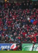 21 January 2018; Ian Keatley of Munster kicks a conversion with the assistance of team-mate Conor Murray during the European Rugby Champions Cup Pool 4 Round 6 match between Munster and Castres at Thomond Park in Limerick. Photo by Diarmuid Greene/Sportsfile
