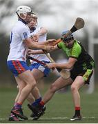 21 January 2018; Shane Reck of IT Carlow in action against Aaron Gillane, left and Cian Lynch of Mary Immaculate College Limerick during the Electric Ireland HE GAA Fitzgibbon Cup Group D Round 1 match between IT Carlow and Mary Immaculate College Limerick at Heywood Community School in Laois. Photo by Eóin Noonan/Sportsfile
