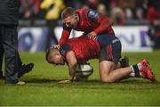 21 January 2018; Simon Zebo of Munster is congratulated by team mate Andrew Conway after scoring his side's fourth during the European Rugby Champions Cup Pool 4 Round 6 match between Munster and Castres at Thomond Park in Limerick. Photo by Diarmuid Greene/Sportsfile