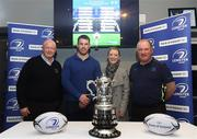 21 January 2018; In attendance during the Bank of Ireland Provincial Towns Cup Round 2 Draw are, from left, Bill Duggan, Tournament Director, Sean O'Brien of Leinster, Roisin Crotty, Head of Bank of Ireland Kildare, and Dermot O'Mahony, Leinster Rugby Fixtures Administrator, at Naas RFC in Naas, Kildare. Photo by Sam Barnes/Sportsfile