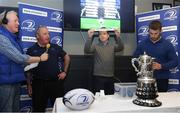 21 January 2018; Adrian Slevin of Naas Bank of Ireland holds up the name of Portarlington RFC, during the Bank of Ireland Provincial Towns Cup Round 2 Draw. Also in attendance are, from left, Pat Costello Kfm, Dermot O'Mahony, Leinster Rugby Fixtures Administrator, and Sean O'Brien of Leinster, at Naas RFC in Naas, Kildare. Photo by Sam Barnes/Sportsfile