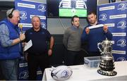 21 January 2018; Sean O'Brien of Leinster holds up the names of Portlaoise and Navan, during the Bank of Ireland Provincial Towns Cup Round 2 Draw. Also in attendance are, from left, Pat Costello Kfm, Dermot O'Mahony, Leinster Rugby Fixtures Administrator, and Adrian Slevin of Naas Bank of Ireland, at Naas RFC in Naas, Kildare. Photo by Sam Barnes/Sportsfile