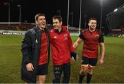 21 January 2018; Munster head coach Johann van Graan with Ian Keatley and CJ Stander after the the European Rugby Champions Cup Pool 4 Round 6 match between Munster and Castres at Thomond Park in Limerick. Photo by Diarmuid Greene/Sportsfile