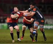 21 January 2018; JJ Hanrahan of Munster is tackled by Victor Moreaux of Castres during the European Rugby Champions Cup Pool 4 Round 6 match between Munster and Castres at Thomond Park in Limerick. Photo by Stephen McCarthy/Sportsfile