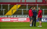 21 January 2018; Munster backline and attack coach Felix Jones, head coach Johann van Graan, and forwards coach Jerry Flannery in conversation prior to the European Rugby Champions Cup Pool 4 Round 6 match between Munster and Castres at Thomond Park in Limerick. Photo by Diarmuid Greene/Sportsfile