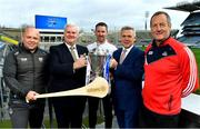 22 January 2018; 2018 marks the 26th season that Allianz has sponsored the Allianz Hurling Leagues, making it one of the longest sponsorships in Irish sport. Allianz and the GAA today announced the renewal of Allianz's partnership with GAAGO which will make over 50 live Allianz League matches available to global audiences. In attendance at the Allianz Hurling League 2018 launch at Croke Park in Dublin, from left, Waterford manager Derek McGrath, Uachtarán Chumann Lúthchleas Gael Aogán Ó Fearghail, Galway goalkeeper Colm Callanan, Sean McGrath, CEO, Allianz Ireland and Cork manager John Meyler. Photo by Brendan Moran/Sportsfile