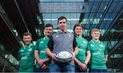 22 January 2018; Ireland U20 manager Noel McNamara, centre, with players, from left, Jonny Stewart, Diarmuid Barron, Sean Masterson and Tommy O'Brien in attendance at the the Ireland U20 Rugby Press Conference at PwC Head Office in Spencer Dock, Dublin. Photo by David Fitzgerald/Sportsfile