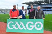 22 January 2018; 2018 marks the 26th season that Allianz has sponsored the Allianz Hurling Leagues, making it one of the longest sponsorships in Irish sport. Allianz and the GAA today announced the renewal of Allianz's partnership with GAAGO which will make over 50 live Allianz League matches available to global audiences. In attendance at the Allianz Hurling League 2018 launch at Croke Park in Dublin are, from left, Cork manager John Meyle, Sean McGrath, CEO, Allianz Ireland, Galway goalkeeper Colm Callanan and Waterford manager Derek McGrath. Photo by Brendan Moran/Sportsfile