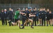 22 January 2018; Rian McBride of DCU in action against Sean Ryan of LIT during the Electric Ireland HE GAA Fitzgibbon Cup Group C Round 2 match between Limerick Institute of Technology and Dublin City University at Limerick Institute of Technology in Limerick. Photo by Diarmuid Greene/Sportsfile