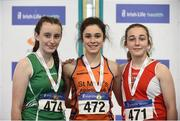 20 January 2018; Girls U15 Medallists, from left, Amy Callaghan of Cushinstown AC, Co Meath, silver, Laura Frawley of St Mary's AC, Co Limerick, gold, and Saidhbhe Byrne of Enniscorthy Juvenile AC, Co Wexford, bronze, during the Irish Life Health National Indoor Combined Events All Ages at Athlone IT in Westmeath. Photo by Sam Barnes/Sportsfile