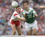 3 August 2003; Raymond Gallagher, Fermanagh, in action against Tyrone's Sean Cavanagh. Bank of Ireland All-Ireland Senior Football Championship Quarter Final, Tyrone v Fermanagh, Croke Park, Dublin. Picture credit; Damien Eagers / SPORTSFILE *EDI*