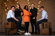 23 January 2018; At the launch of the AIB Future Sparks Festival are, from left, Sprout & Co co-founder Jack Kirwan, FoodCloud co-founder Iseult Ward, recording artist Soulé, former Irish and Leinster rugby player Gordon D'Arcy and Dublin hurler Donal Burke. The AIB Future Sparks Festival takes place in the RDS on March 22nd 2018, bringing together leaders in business and young entrepreneurs, to inspire students and show them the power of potential. Photo by Ramsey Cardy/Sportsfile