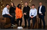 23 January 2018; At the launch of the AIB Future Sparks Festival are, from left, Sprout & Co co-founder Jack Kirwan, FoodCloud co-founder Iseult Ward, recording artist Soulé, former Irish and Leinster rugby player Gordon D'Arcy, Dublin hurler Donal Burke and AIB Group Brands Director Mark Doyle. The AIB Future Sparks Festival takes place in the RDS on March 22nd 2018, bringing together leaders in business and young entrepreneurs, to inspire students and show them the power of potential. Photo by Ramsey Cardy/Sportsfile