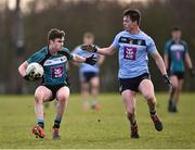 23 January 2018; Ryan O'Rourke of Maynooth University in action against Stephen Coen of University College Dublin during the Electric Ireland HE GAA Sigerson Cup Round 1 match between Maynooth University and University College Dublin at Maynooth University North Campus in Maynooth, Kildare. Photo by Seb Daly/Sportsfile