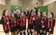 23 January 2018; Carlow IT captain Rachel Graham, right, and Roma McLaughlin lift the cup as their team-mates celebrate after the CUFL Women's Futsal Final cup match at Waterford IT Arena in Waterford. Photo by Matt Browne/Sportsfile