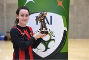 23 January 2018; Roma McLaughlin of Carlow IT with the Player of the Match award after the CUFL Women's Futsal Final cup match at Waterford IT Arena in Waterford. Photo by Matt Browne/Sportsfile