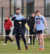 23 January 2018; Dublin senior footballer Jack McCaffrey, left, in conversation with Larry Moran of University College Dublin ahead of the start of the second half during the Electric Ireland HE GAA Sigerson Cup Round 1 match between Maynooth University and University College Dublin at Maynooth University North Campus in Maynooth, Kildare. Photo by Seb Daly/Sportsfile
